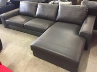Grey leather corner chaise sofa new
