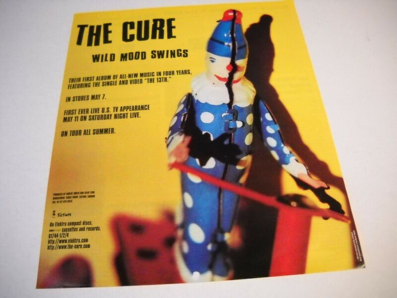 THE CURE 1996 Promo Poster Ad ON TOUR ALL SUMMER w/ WILD MOOD SWINGS hype quotes