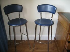 Kitchen Breakfast Bar Stools x 2 ( Set of two) Italian Blue Leather seat and chrome