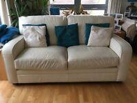 White Leather 2-seater Sofa