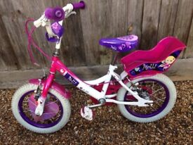 Girl's 14inch Raleigh Molly bike with stablisers