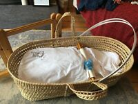 Baby's Moses Basket, Cover and Rocking Stand £20
