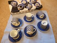 Kopin Windsor 6 piece porcelain coffee cups & saucers