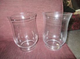 PAIR GLASS HURRICAN LAMPS CANDLE SCONCES