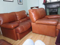 RETRO TAN LEATHER 2 SEATER SOFA AND ARMCHAIR