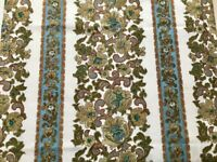 Vintage 1960's Retro Ivory Green Paisley Scroll Readymade Curtains Pair 122 x128cm