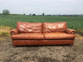 John Lewis 4 Seater Tan Leather Sofa.