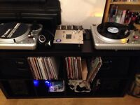 Complete DJ set up- 2x Vestax turntables & mixer, 4x speakers, IKEA Expedit bookcase
