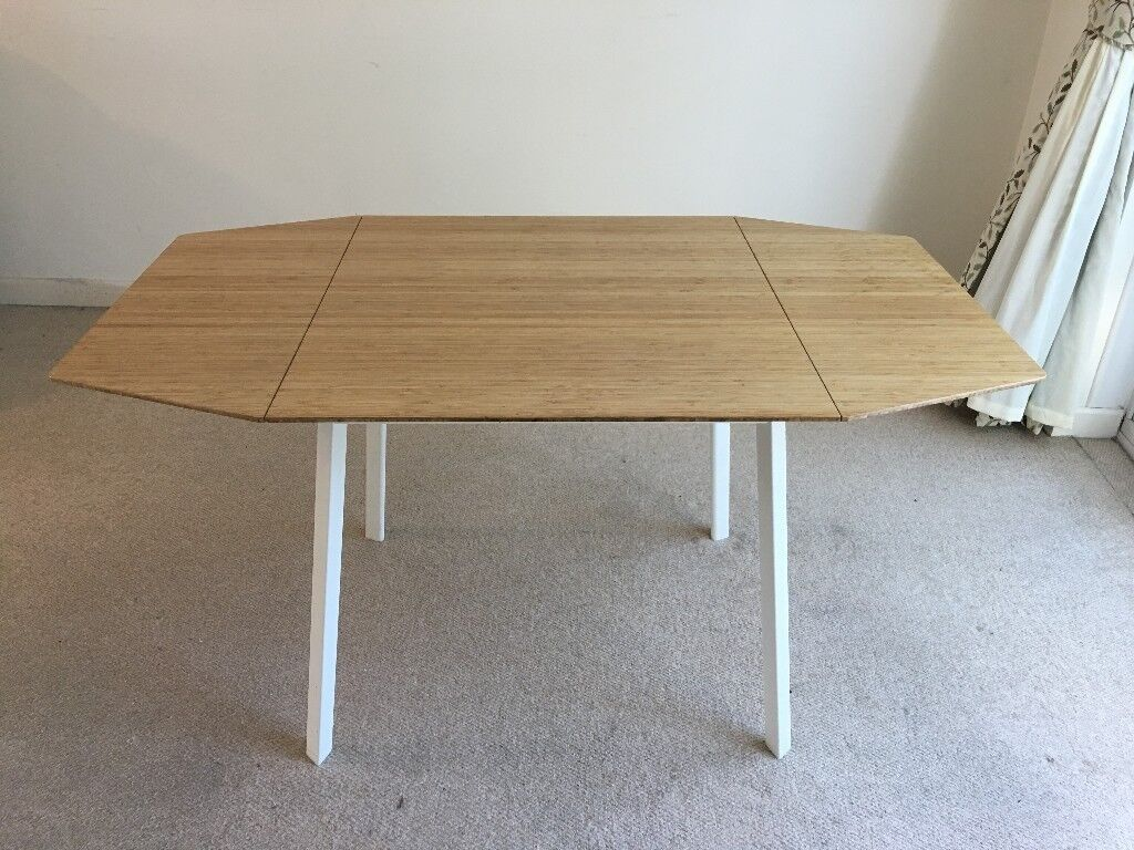 Ikea Ps 2012 Bamboo White Drop Leaf Table Sold Subject To