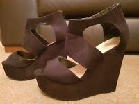 Black Suede Platform Sole Wedge Heel Sandal