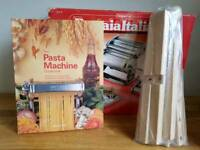 Imperia pasta machine, drying stand and book