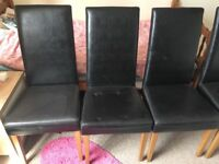 Modern square table with 4 black chairs