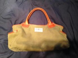 Cath kidston green bag leather trim