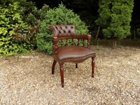 Old Vintage Wooden & Brown Leather Captains Chair