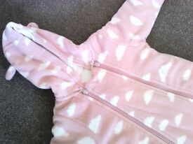 M&S Baby Girls Pink Fleece All- in-One (6-9mths)
