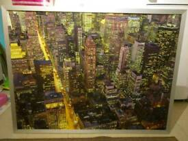 Large New York skyline at night framed picture
