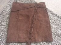 Ladies 'Cowgirl' style swede brown skirt, tassels, size 16 - from Lakeland