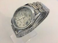 Rolex datejust automatic movement watch with silver dial
