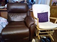 3 seater brown leather sofa (2 seats are recliners), plus new Renapur cleaning supplies - £250