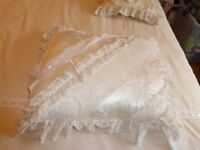 Beautiful Victorian lace and satin ribbon trimmed cushions