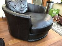 Leather swivel Love chair and foot stool