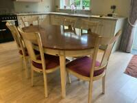 French antique style dining table and 6 chairs