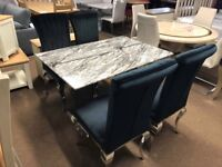 Ex-Display Beautiful marble dining table and 4 chairs