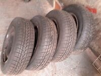 165/70 x 13 Tyres on 4 stud Peugeot 106 steel rims. Poss fit Citroen Saxo also. Near new