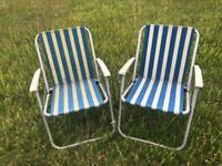 Pair of Retro Vintage Foldaway Camping Deck Chairs