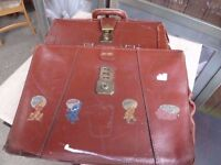 2 x Vintage leather school satchel briefcase Delivery available