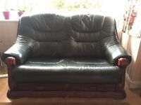 2 + 3 seater leather and solid oak sofas - EXCELLENT CONDITION £150/£225