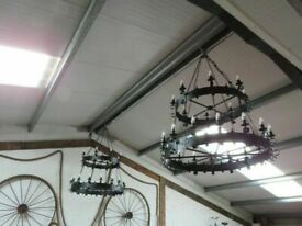 "2 Large Gothic Style Chandeliers (52"" Wide)"