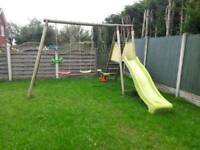 Swing set and seesaw
