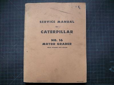Cat Caterpillar 16 Motor Grader Repair Shop Service Manual Road Overhaul Plow