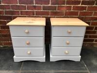 Pair of Grey refurbished farmhouse bedside pine bedside cabinets tables