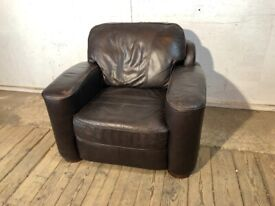 Brown Real Leather Square Style Arm Chair with Wooden Feet