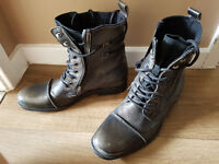 Mens River Island Leather Boots Size 8