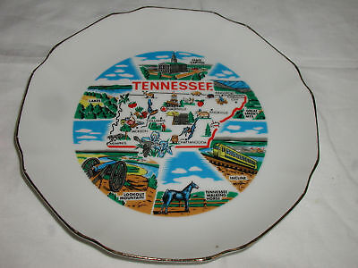 "TENNESSEE PLATE SOUVENIR  7 1/2"" GOLD RIMMED"