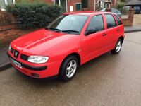 2002 SEAT IBIZA CHILL 5 DOOR HATCHBACK, S. 1400CC NEW CAMBELT, LONG MOT. CHEAP TO TAX.