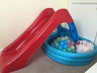 Plastic garden slide and ball pool