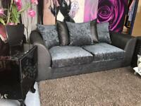 New Denver 3 Seater Sofa With Scatter Back Cushions in Black and Grey Fabric