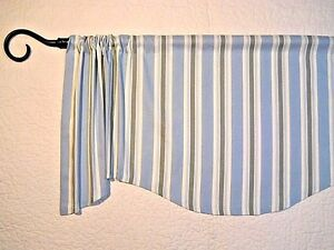 BEACH COTTAGE~STRIPED~VALANCE~Spa Blue~Green~Window~TOPPER~curtain~HANDMADE