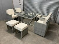 FREE DELIVERY GREY GARDEN RATTAN CUBE TABLE, 4 CHAIRS & 4 STOOLS GREAT CONDITION