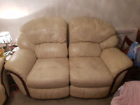Beige Leather 3 Piece Reclining Suite 3 seater sofa + 2 singles