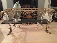 Beautiful ornate classical French low table base in gilded metalwork