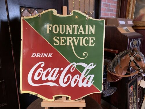 "24"" Porcelain Double-Sided Coca Cola ""Fountain Service"" Sign ""Watch Video"""