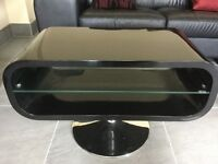Black high gloss tech link console table with chrome base, excellent condition