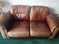 Brown leather sofa - 3 seater and a 2 seater