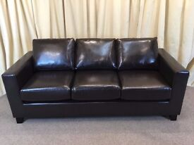 Brown Leather 3 Seater Sofa New Shop Ex Display