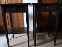 Two black hemnes bedside tables good condition